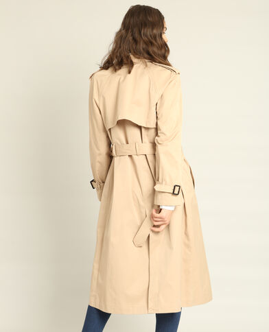 Trench long beige ficelle