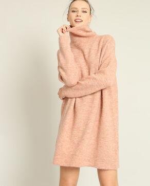 Robe pull col roulé rose poudré