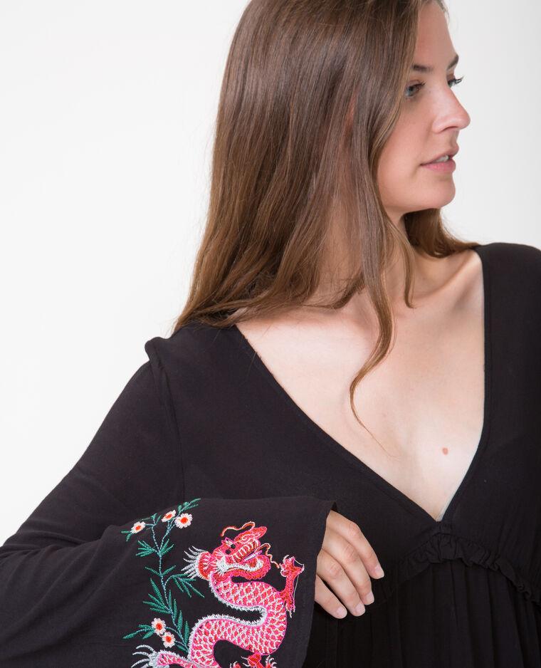 Robe trapèze brodée noir