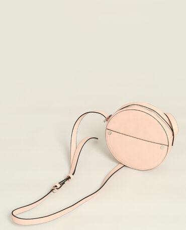 Sac rond en faux cuir rose