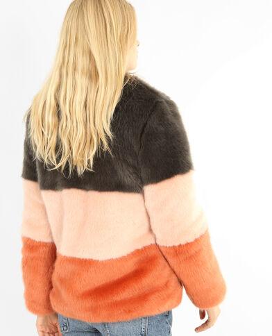 Manteau en fausse fourrure tricolore gris