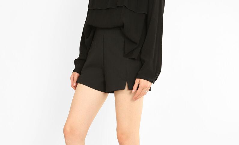 Mini short à fentes noir