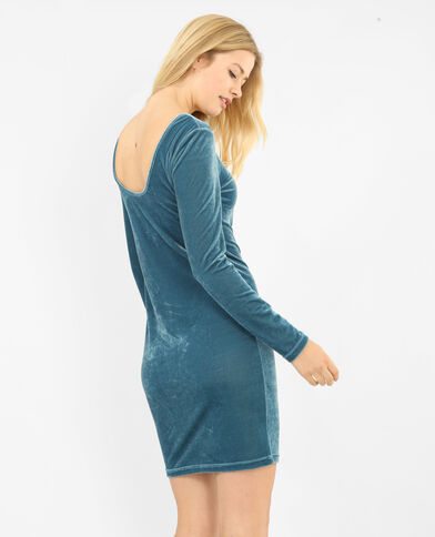 Robe velours bleu canard