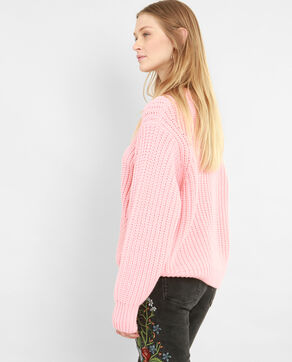 Pull à grosse maille rose saumon