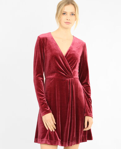 Robe velours cache-cœur grenat