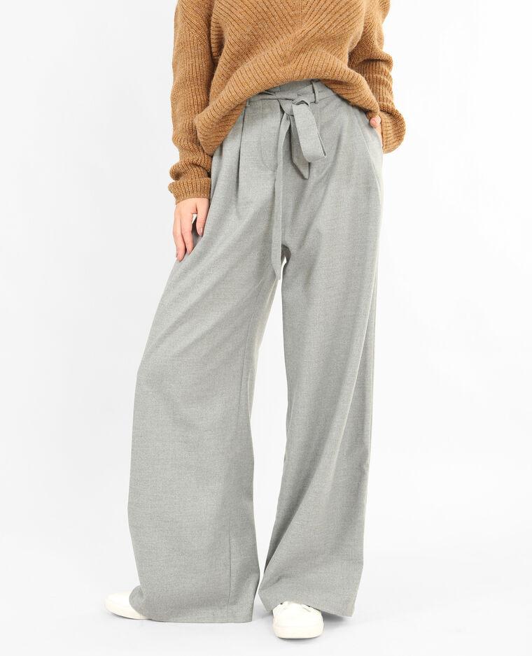 Pantalon large gris chiné ...