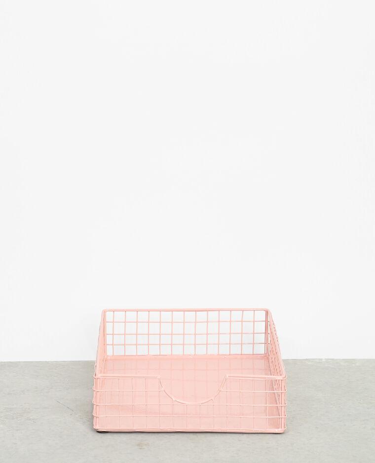 Corbeille à courrier métallique rose poudré