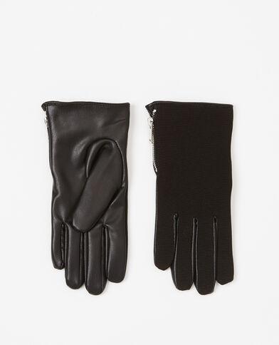 Gants bimatière noir