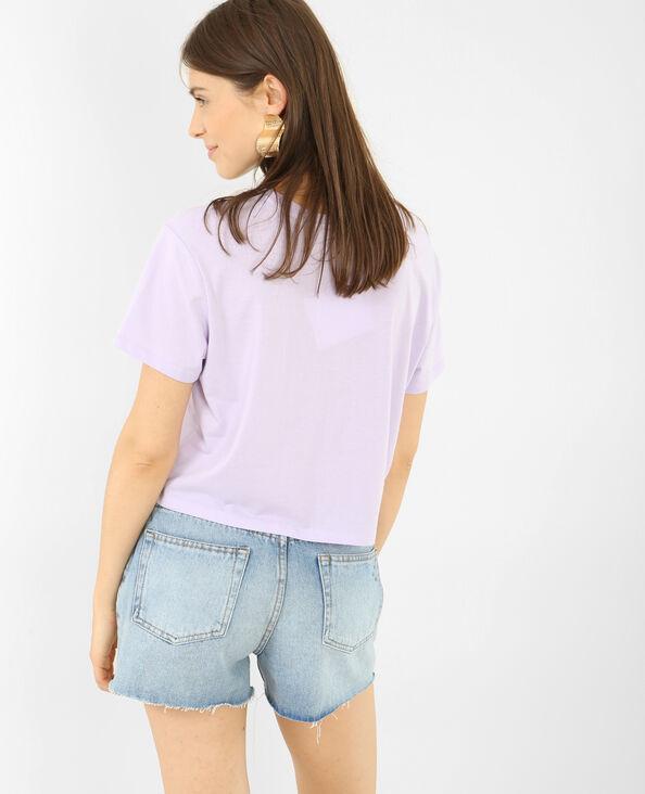 T-shirt cropped message 3D violet