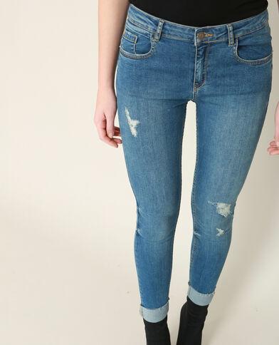 Jean skinny destroy à revers bleu