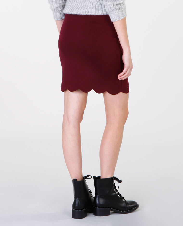 Mini jupe découpe bas brique
