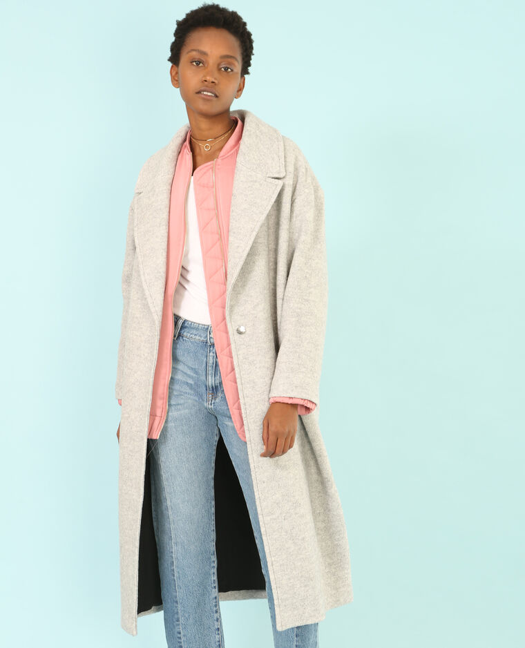 Manteau long laine mélangée gris chiné