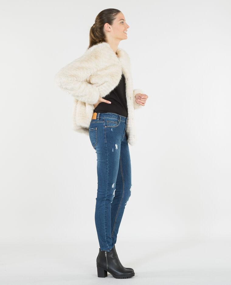 Manteau fausse fourrure beige ficelle