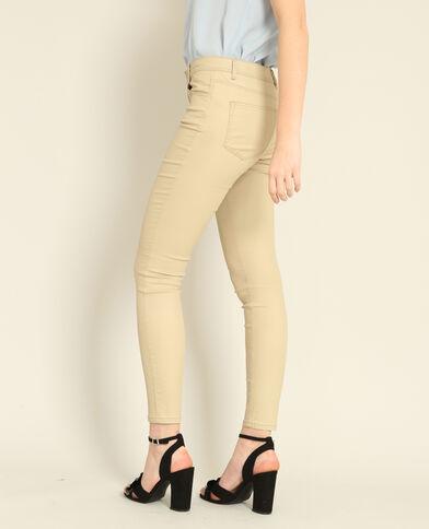 Pantalon skinny enduit beige