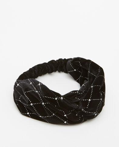 Headband velours pailleté noir