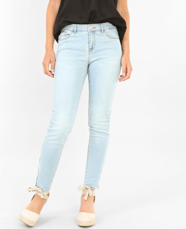 Jean skinny raw cut zippé bleu clair