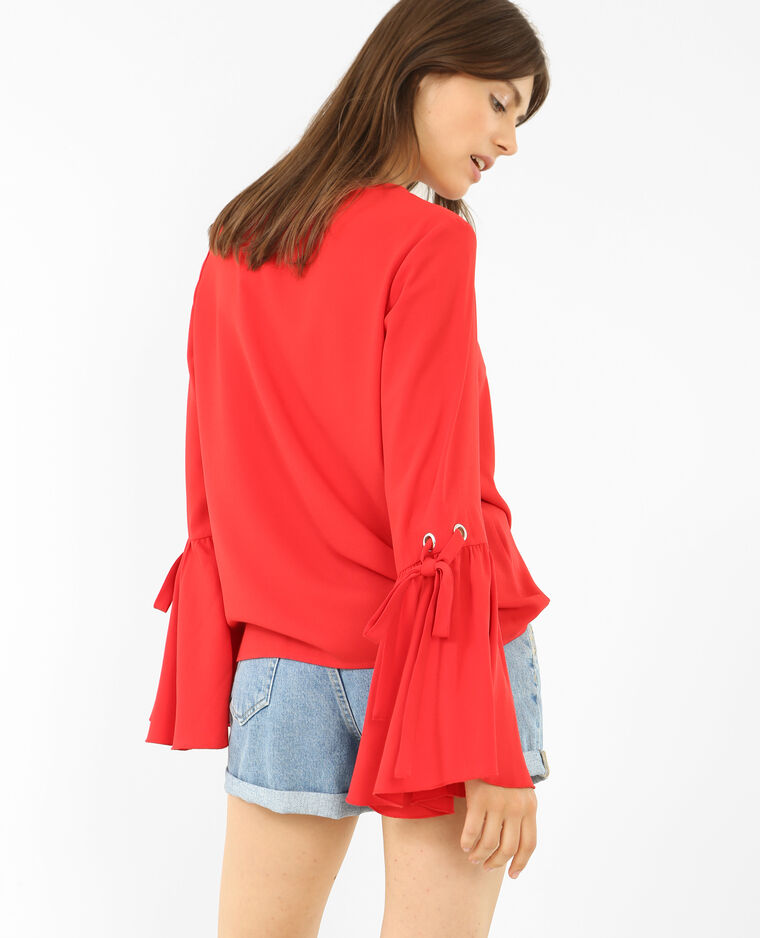 Blouse fluide manches pagode rouge