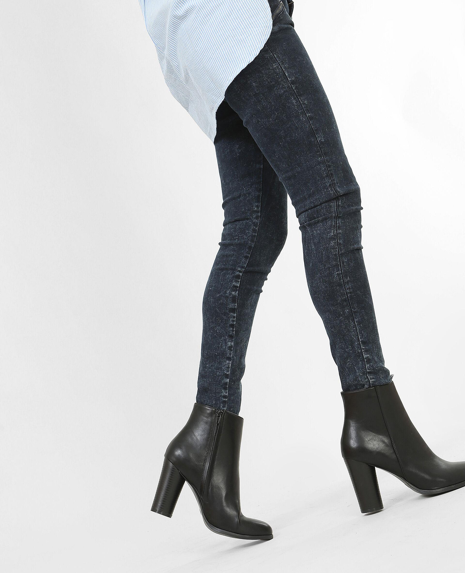 Boots talon rond noir; Boots talon rond noir