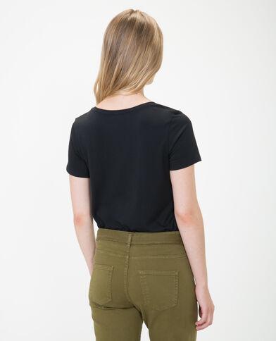 T-shirt à col V noir