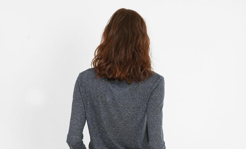 T-shirt maille chinée bleu marine