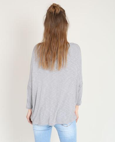 T-shirt à col croisé gris chiné