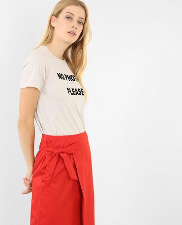 T-shirt à message rose pâle