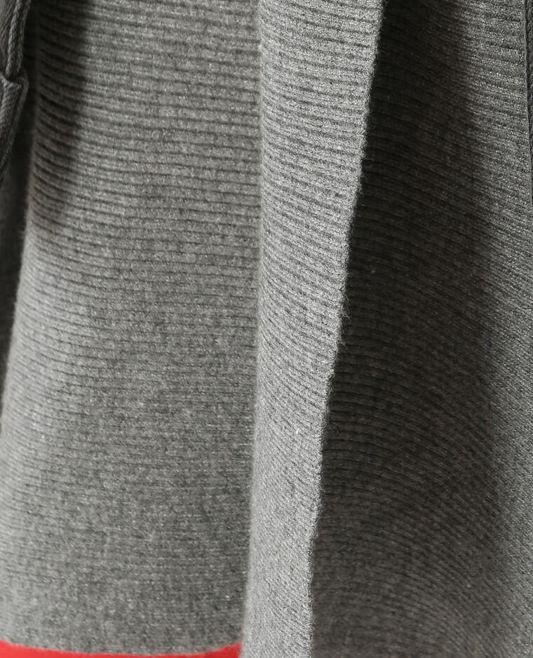 Gilet long à côtes gris