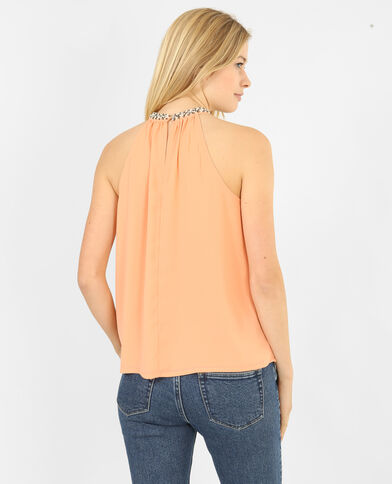 Top col bijoux rose
