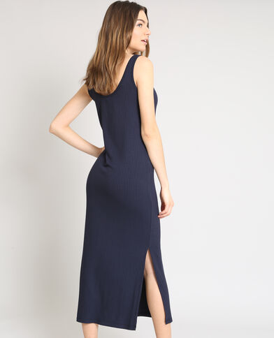 Robe longue moulante bleu marine