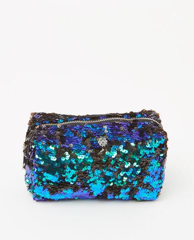 Trousse sequins bicolore bleu