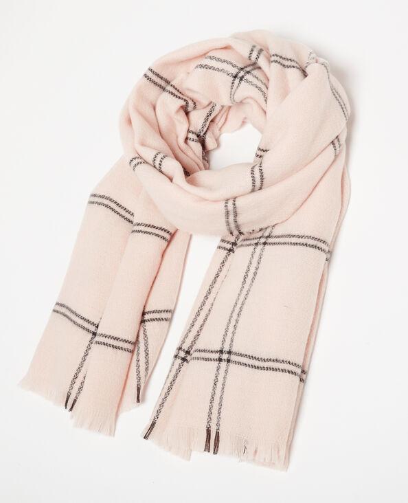 Echarpe chaude à carreaux rose pâle