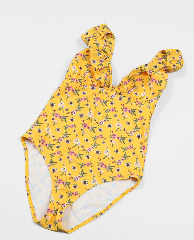 Maillot de bain une pièce à volants jaune