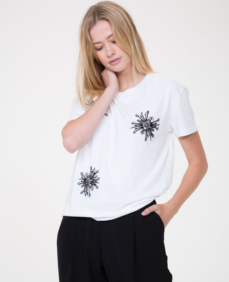 T-shirt à perles blanc