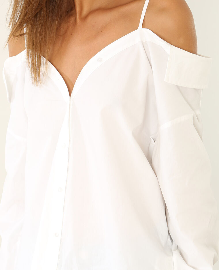 Chemise à épaules dénudées blanc