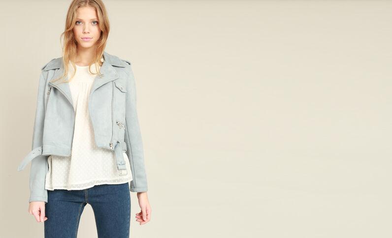 Veste style perfecto suédine bleu