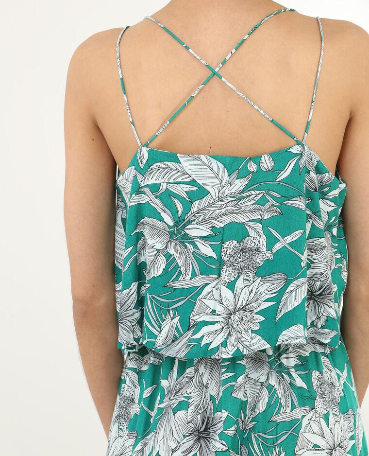 Longue robe imprimée dos croisé vert