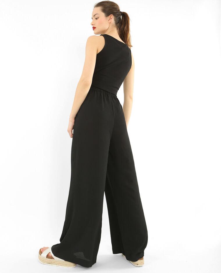 Pantalon large effet crêpe noir