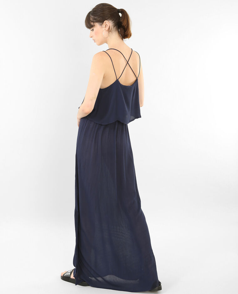 Robe longue dos croisé bleu marine