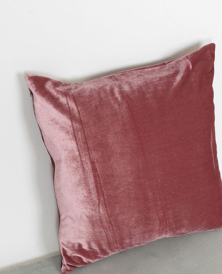 Coussin velours rose pâle