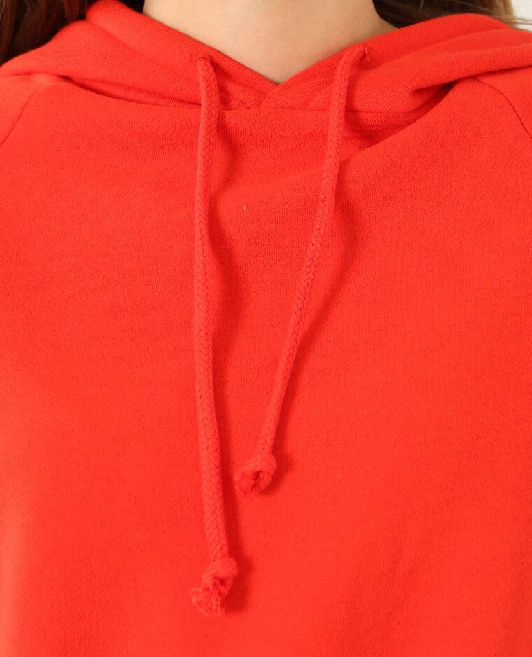 Sweat court à capuche rouge