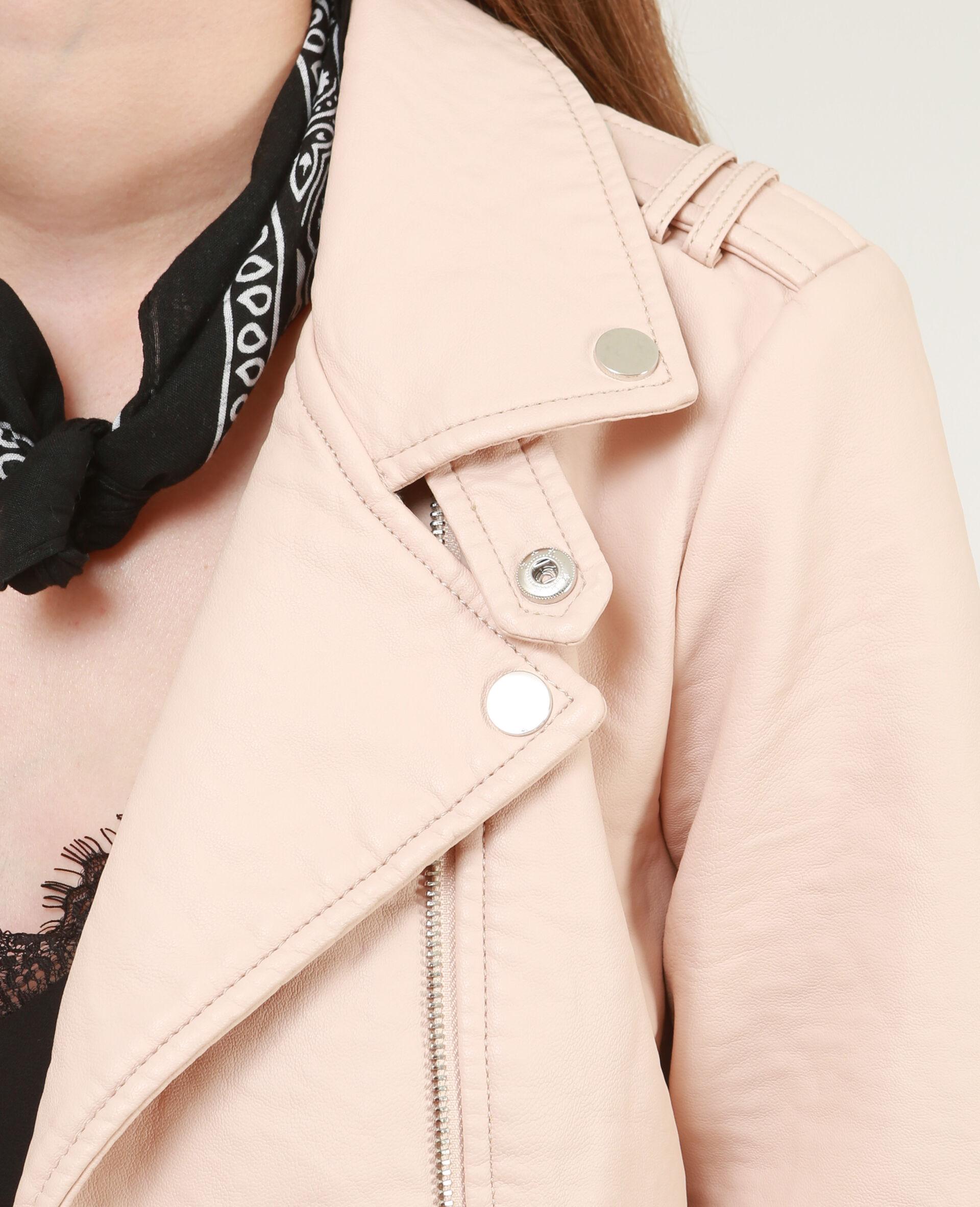 Veste simili cuir femme rose poudre