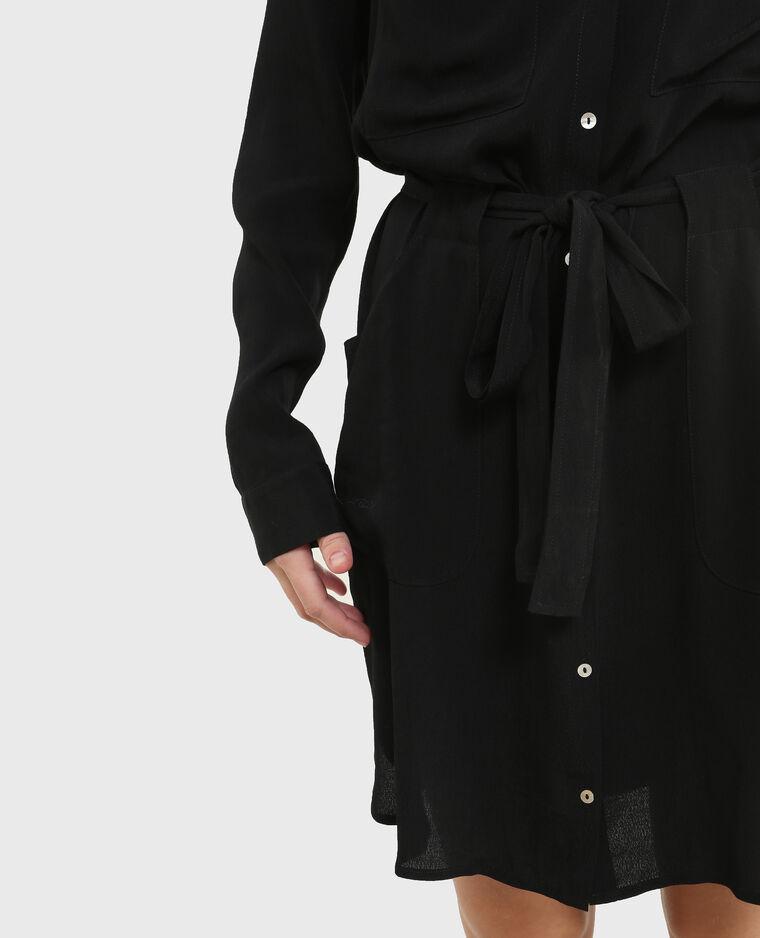 Robe chemise en crêpe noir