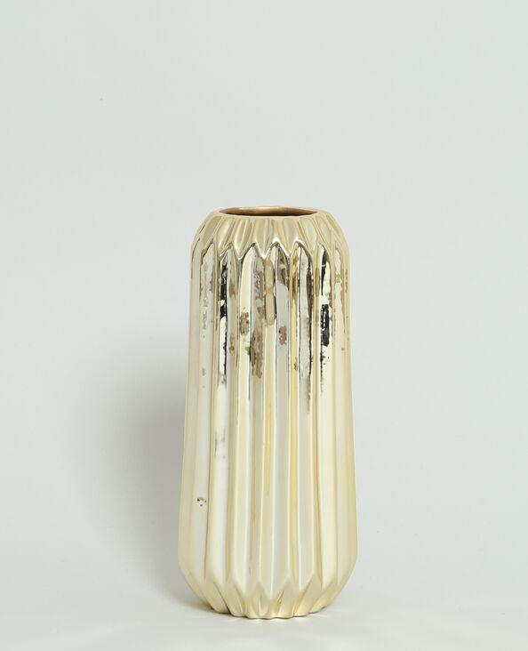 Grand vase strié doré