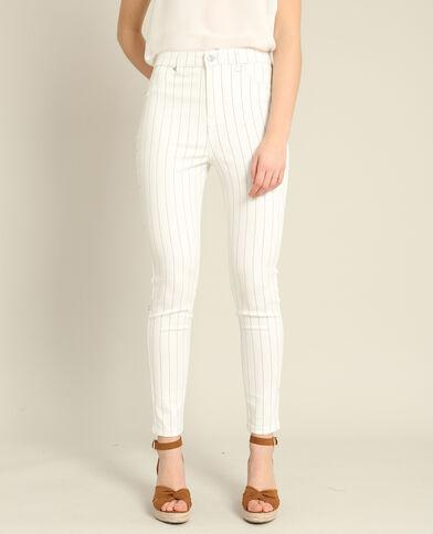 Pantalon skinny rayé beige