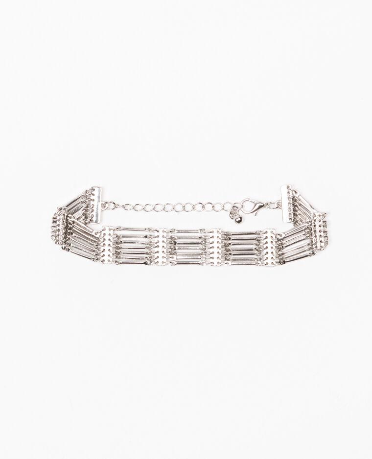 Bracelet multirangs gris argenté