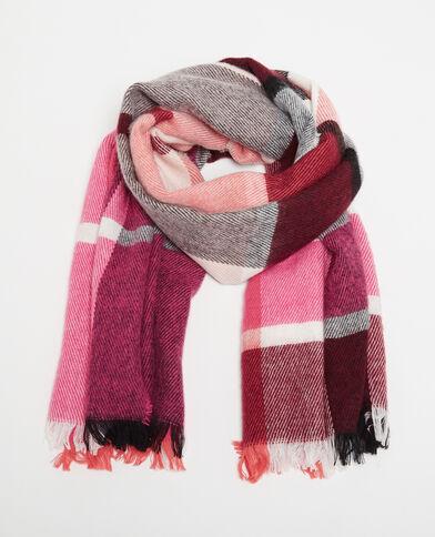 Echarpe chaude à carreaux rose