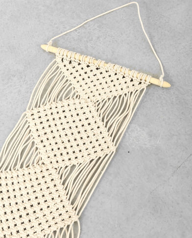 Suspension macramé à franges blanc