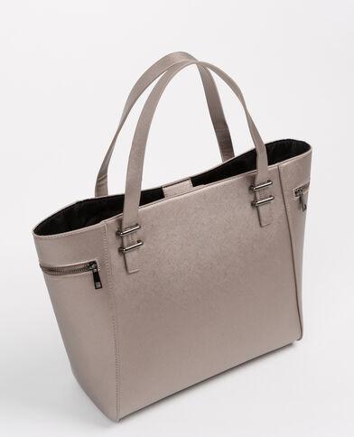 Grand sac cabas gris argenté