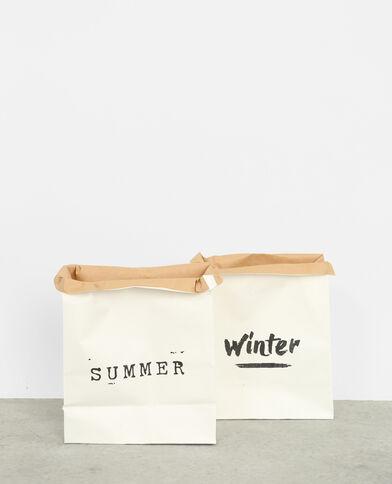Lot de 2 paper bags blanc cassé