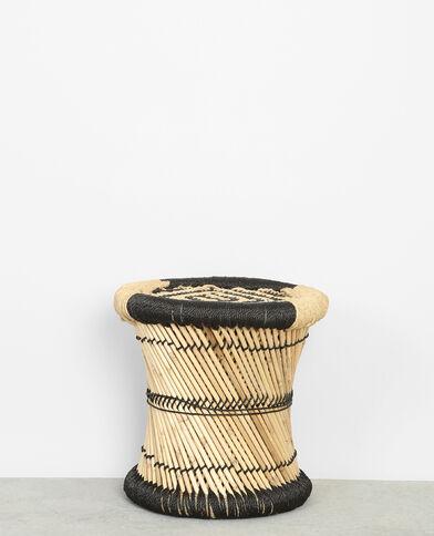 Petit tabouret tressé en bambou noir